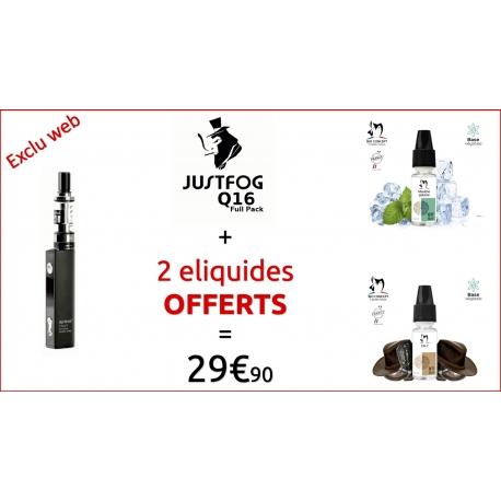 PACK Q16 NOIR - JUSTFOG et 2 liquides OFFERTS !!