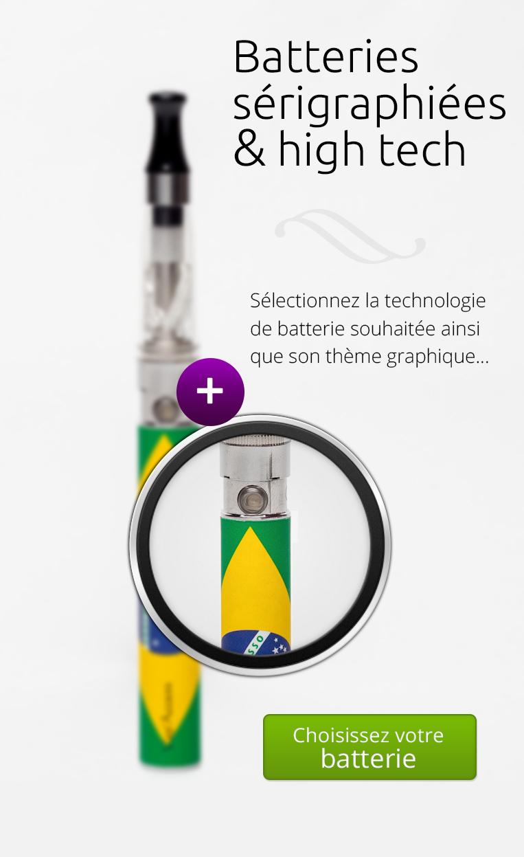 sélectionnez votre batterie et clearomizers de cigarette